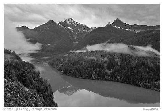 Colonial Peak and Pyramid Peak above Diablo Lake on rainy evening, North Cascades National Park Service Complex.  (black and white)