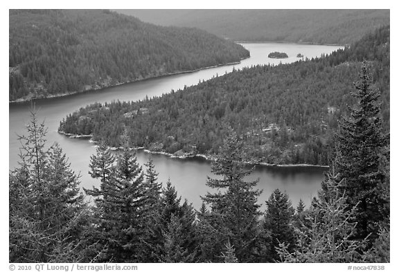 Ross Lake, dusk, North Cascades National Park Service Complex.  (black and white)
