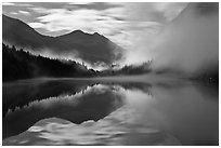 Moonlit fog, Diablo Lake, North Cascades National Park Service Complex.  ( black and white)