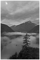 Diablo Lake, fog, and moon, dawn, North Cascades National Park Service Complex.  ( black and white)