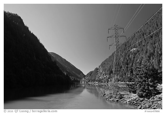 Gorge Lake and power lines,  North Cascades National Park Service Complex.  (black and white)