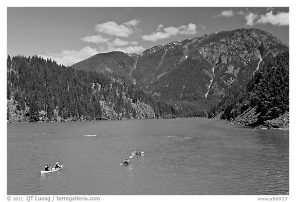 Canoes and kayaks on Diablo Lake,  North Cascades National Park Service Complex.  (black and white)