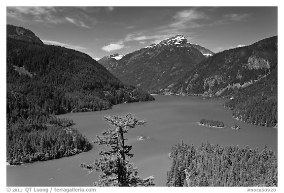 Diablo Lake from overlook,  North Cascades National Park Service Complex.  (black and white)
