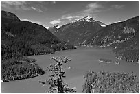 Diablo Lake from overlook,  North Cascades National Park Service Complex.  ( black and white)