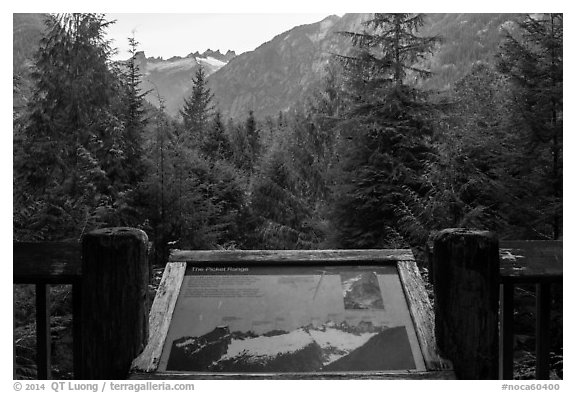 Picket Range interpretive sign, North Cascades National Park.  (black and white)