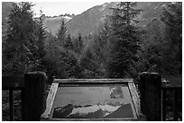 Picket Range interpretive sign, North Cascades National Park.  ( black and white)