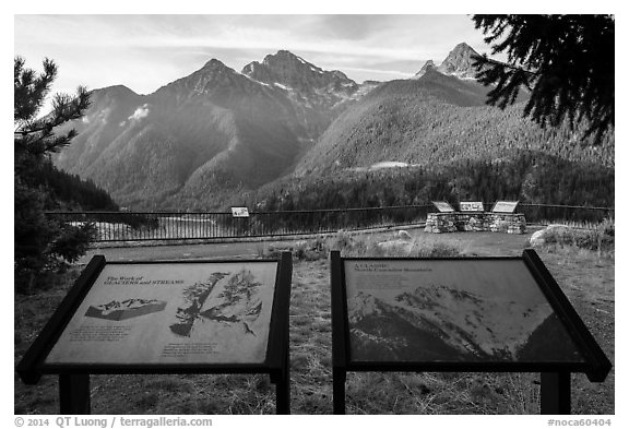 North Cascades Mountains interpretive signs, Lake Diablo overlook, North Cascades National Park Service Complex.  (black and white)