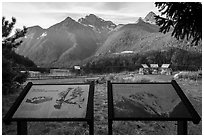 North Cascades Mountains interpretive signs, Lake Diablo overlook, North Cascades National Park Service Complex.  ( black and white)