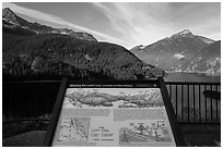 Shaping the Land interpretive sign at Lake Diablo overlook, North Cascades National Park Service Complex.  ( black and white)