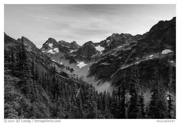 Fisher Creek cirque at sunset, North Cascades National Park.  (black and white)
