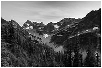Fisher Creek cirque at sunset, North Cascades National Park.  ( black and white)