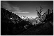 Mount Logan from Easy Pass at night, North Cascades National Park.  ( black and white)
