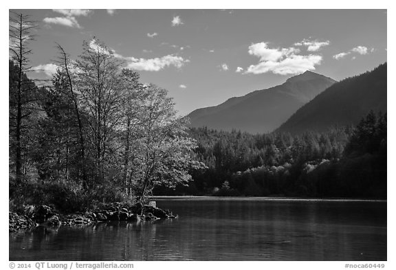 Gorge Lake, North Cascades National Park Service Complex.  (black and white)