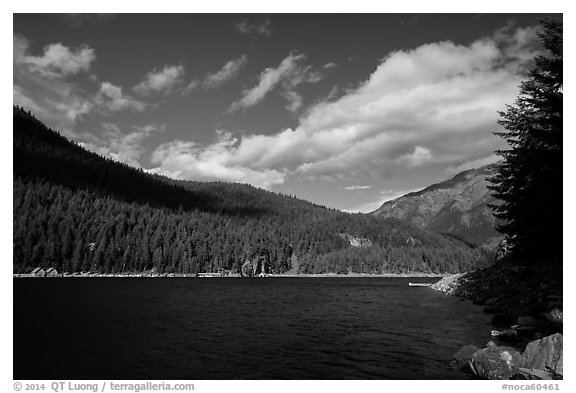 Ross Lake, North Cascades National Park Service Complex.  (black and white)