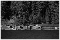 Ross Lake Resort, North Cascades National Park Service Complex.  ( black and white)