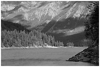 Water-level view of Ross Lake, North Cascades National Park Service Complex.  ( black and white)
