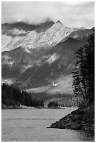 Peaks above Ross Lake, North Cascades National Park Service Complex.  ( black and white)