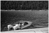 Boat ride across lake to Ross Lake resort, North Cascades National Park Service Complex.  ( black and white)