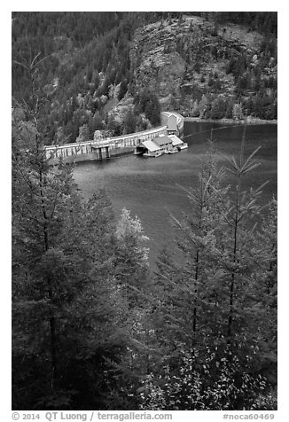 Ross Lake and dam, North Cascades National Park Service Complex.  (black and white)