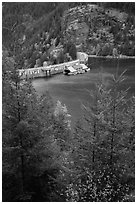 Ross Lake and dam, North Cascades National Park Service Complex.  ( black and white)