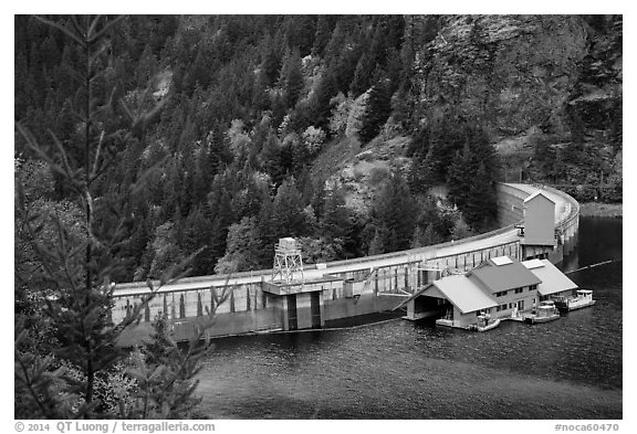 Ross Dam, North Cascades National Park Service Complex.  (black and white)