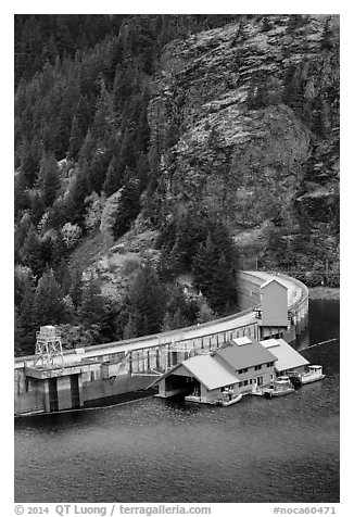 Ross Lake dam, North Cascades National Park Service Complex.  (black and white)