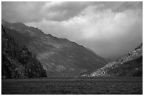 Lake Chelan and rainbow, North Cascades National Park Service Complex.  ( black and white)