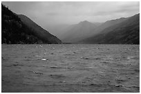 Rain, Lake Chelan, North Cascades National Park Service Complex.  ( black and white)