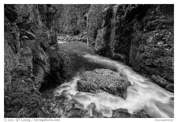 Stehekin gorge below High Bridge, North Cascades National Park.  (black and white)