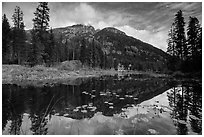 McGregor Mountain reflected in Coon Lake, North Cascades National Park Service Complex.  ( black and white)