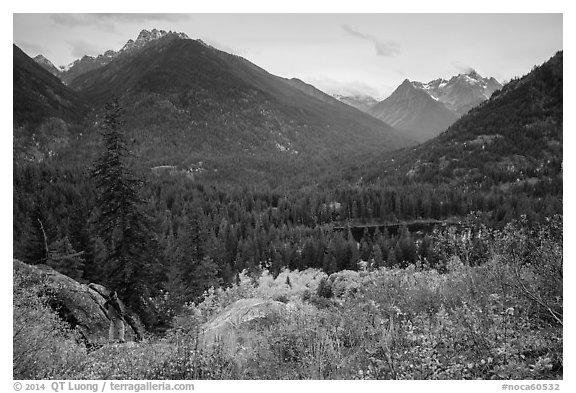 Visitor looking, McGregor Mountain above Coon Lake, North Cascades National Park Service Complex.  (black and white)