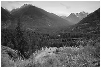 Visitor looking, McGregor Mountain above Coon Lake, North Cascades National Park Service Complex.  ( black and white)