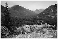 Coon Lake from above and Agnes peak, North Cascades National Park Service Complex.  ( black and white)