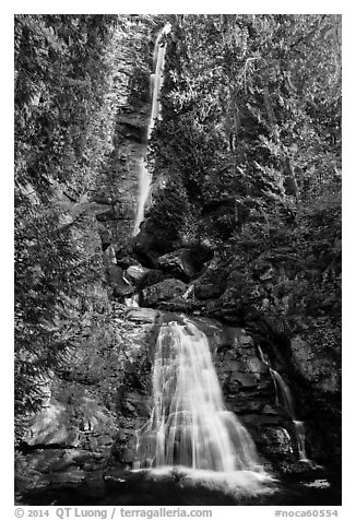 Rainbow Falls, Stehekin, North Cascades National Park Service Complex.  (black and white)