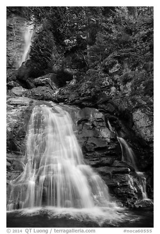 Lower Rainbow Falls, Stehekin, North Cascades National Park Service Complex.  (black and white)