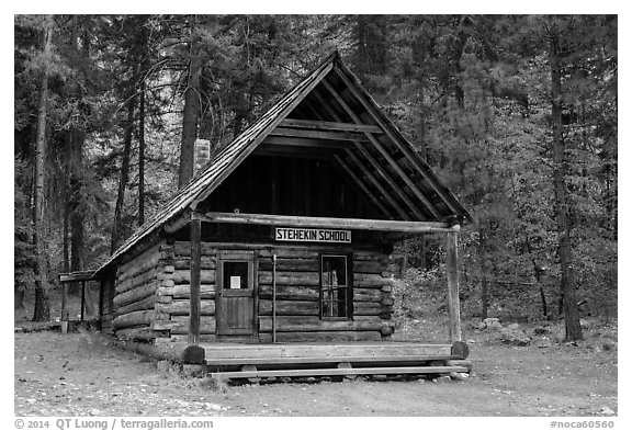 Historic schoolhouse, Stehekin, North Cascades National Park Service Complex.  (black and white)