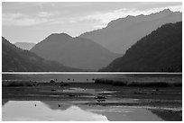 Pond and Lake Chelan, Stehekin, North Cascades National Park Service Complex.  ( black and white)