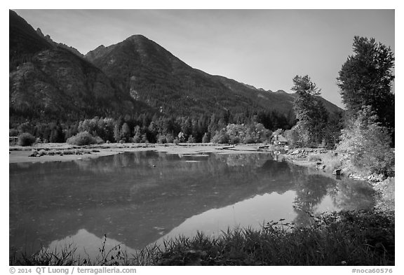 Lowever Stehekin valley and Lake Chelan, Stehekin, North Cascades National Park Service Complex.  (black and white)