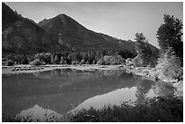 Lowever Stehekin valley and Lake Chelan, Stehekin, North Cascades National Park Service Complex.  ( black and white)