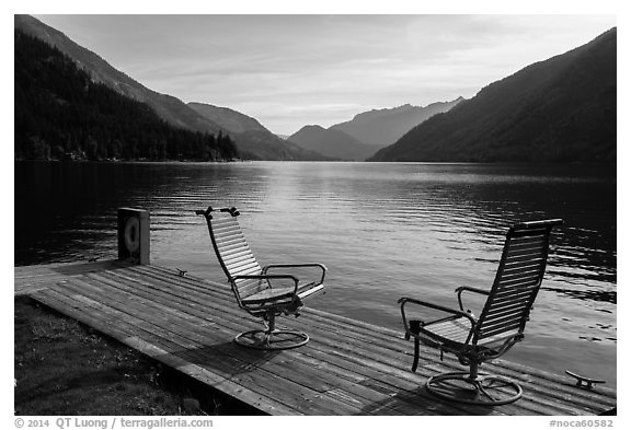 Two chairs and a buoy on deck, Lake Chelan, Stehekin, North Cascades National Park Service Complex.  (black and white)