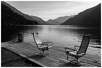 Two chairs and a buoy on deck, Lake Chelan, Stehekin, North Cascades National Park Service Complex.  ( black and white)
