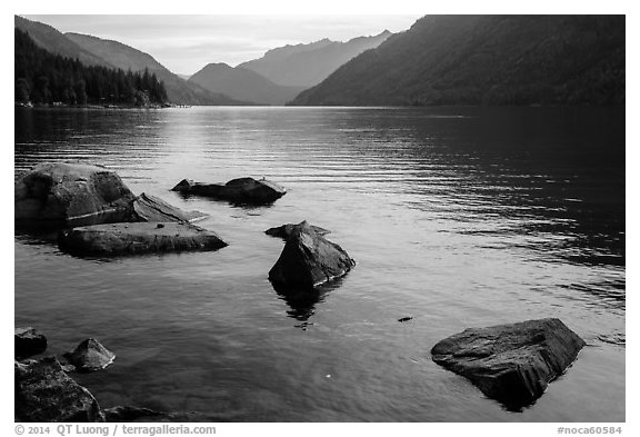 Rocks, Lake Chelan, Stehekin, North Cascades National Park Service Complex.  (black and white)