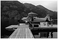 Floatplane and deck, Stehekin, North Cascades National Park Service Complex.  ( black and white)