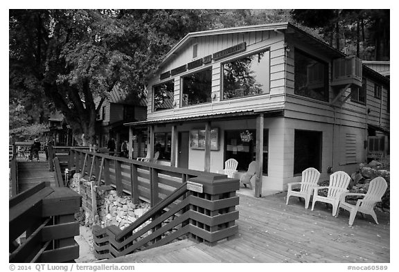 North Cascades Lodge, Stehekin, North Cascades National Park Service Complex.  (black and white)