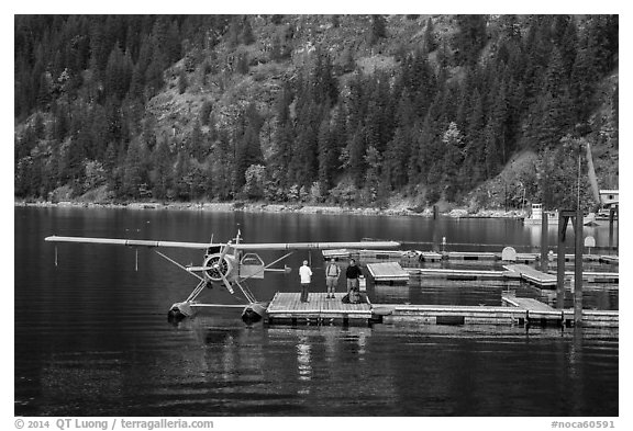 Floatplane on Lake Chelan, Stehekin, North Cascades National Park Service Complex.  (black and white)