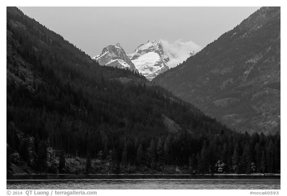 Snowy peaks above Stehekin and Lake Chelan,  North Cascades National Park Service Complex.  (black and white)