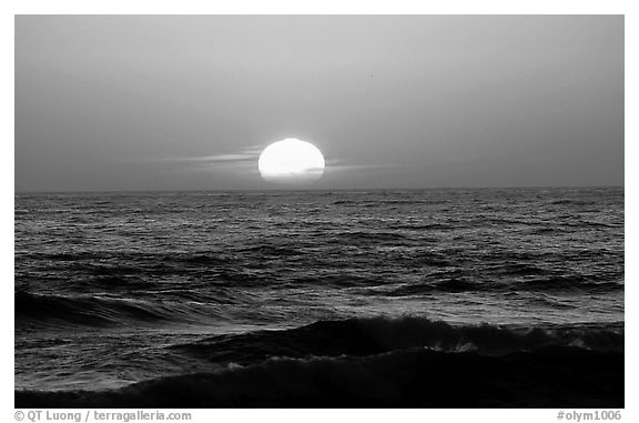 Disc of sun setting in  pacific, Shi-shi beach. Olympic National Park (black and white)