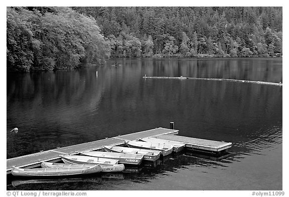 Emerald waters, pier and rowboats, Crescent Lake. Olympic National Park (black and white)