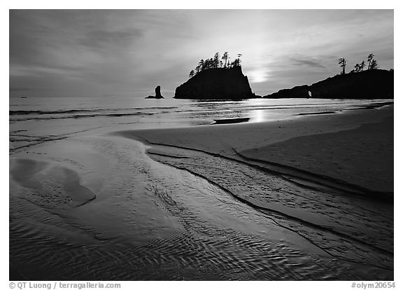 Stream, beach, and sea stacks at sunset,  Second Beach. Olympic National Park (black and white)