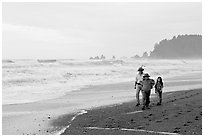 Family walking on Rialto Beach. Olympic National Park ( black and white)